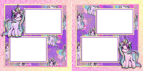 Unicorns - Digital Scrapbook Pages - INSTANT DOWNLOAD - EZscrapbooks Scrapbook Layouts baby, fairytale, girl, pink, princess, toddler, unicorn