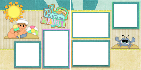 Beach Baby Boy - Digital Scrapbook Pages - INSTANT DOWNLOAD - EZscrapbooks Scrapbook Layouts Baby - Toddler, Beach - Tropical