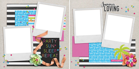 Party Sun Sleep - Digital Scrapbook Pages - INSTANT DOWNLOAD