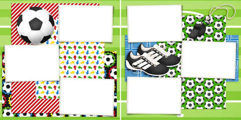 Soccer Gear - Digital Scrapbook Pages - INSTANT DOWNLOAD - EZscrapbooks Scrapbook Layouts soccer, soccer ball, sport, sports