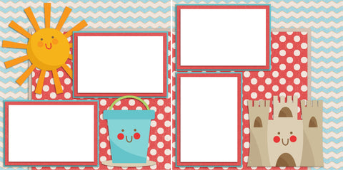 Cute Beach - Digital Scrapbook Pages - INSTANT DOWNLOAD
