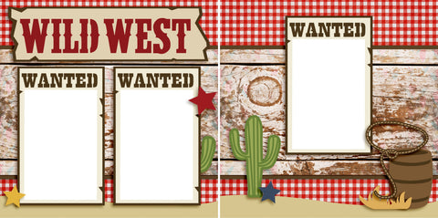 Wild West - Digital Scrapbook Pages - INSTANT DOWNLOAD - EZscrapbooks Scrapbook Layouts Western - Cowboy