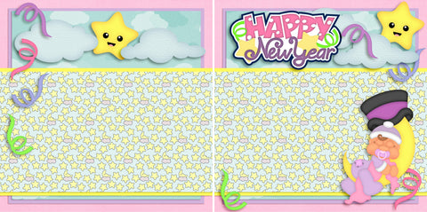New Year Baby Girl NPM - 2734 - EZscrapbooks Scrapbook Layouts Baby - Toddler, New Year's