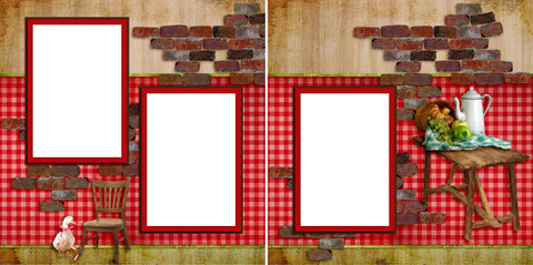 Bistro Rouge - Digital Scrapbook Pages - INSTANT DOWNLOAD