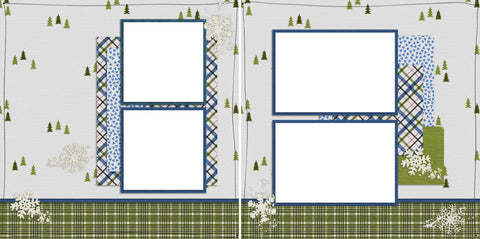 On the Slopes - Digital Scrapbook Pages - INSTANT DOWNLOAD - EZscrapbooks Scrapbook Layouts Christmas, Winter