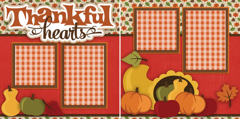 Thankful Hearts - 2312 - EZscrapbooks Scrapbook Layouts Family, Thanksgiving