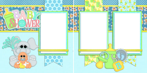 Baby Shower Boy - Digital Scrapbook Pages - INSTANT DOWNLOAD