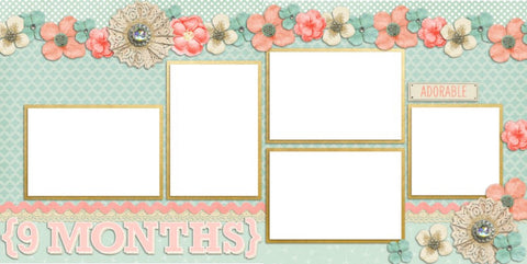 Baby Girl 9 Months - Digital Scrapbook Pages - INSTANT DOWNLOAD