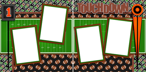 Touchdown - Digital Scrapbook Pages - INSTANT DOWNLOAD - EZscrapbooks Scrapbook Layouts Sports