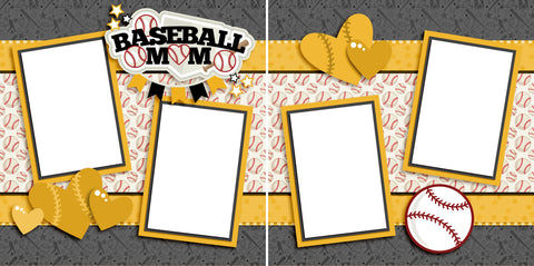 Baseball Mom Yellow - Digital Scrapbook Pages - INSTANT DOWNLOAD