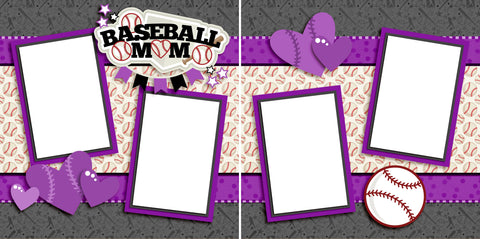 Baseball Mom Purple- Digital Scrapbook Pages - INSTANT DOWNLOAD