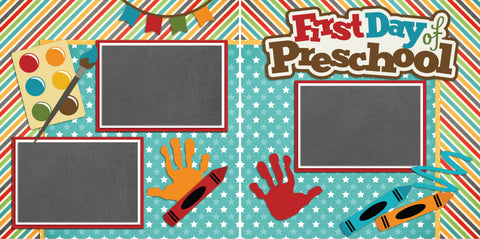 First Day of Pre-School - 2214 - EZscrapbooks Scrapbook Layouts School