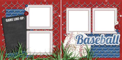 Baseball Line-Up - Digital Scrapbook Pages - INSTANT DOWNLOAD - EZscrapbooks Scrapbook Layouts baseball, Sports