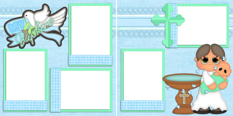 My Baptism Boy - Digital Scrapbook Pages - INSTANT DOWNLOAD - EZscrapbooks Scrapbook Layouts Baby - Toddler, Boys, Other