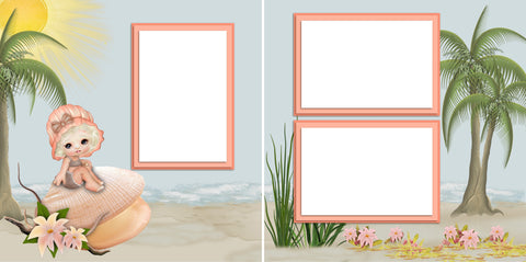 Beach Cutie - Digital Scrapbook Pages - INSTANT DOWNLOAD - EZscrapbooks Scrapbook Layouts Baby - Toddler, Beach - Tropical, Girls