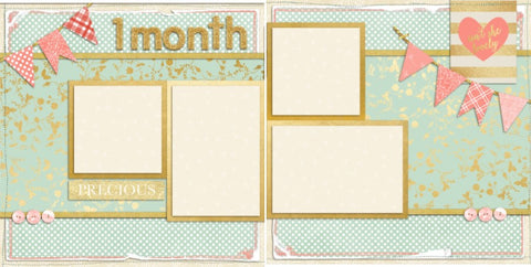 Baby Girl 1 Month - Digital Scrapbook Pages - INSTANT DOWNLOAD - EZscrapbooks Scrapbook Layouts Baby - Toddler