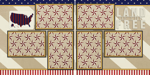 Land of the Free - 590 - EZscrapbooks Scrapbook Layouts July 4th - Patriotic, Military