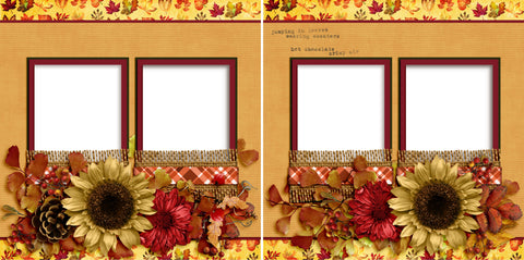 Jumping In Leaves - Digital Scrapbook Pages - INSTANT DOWNLOAD