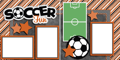Soccer Fun Orange - Digital Scrapbook Pages - INSTANT DOWNLOAD