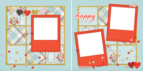 Happy - Digital Scrapbook Pages - INSTANT DOWNLOAD