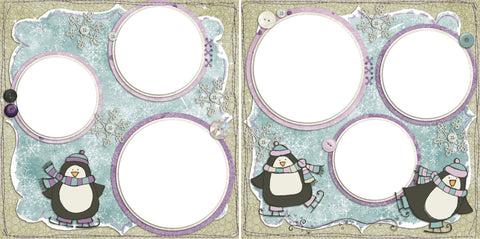 Snow Penguins - Digital Scrapbook Pages - INSTANT DOWNLOAD