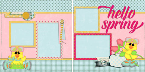 Hello Spring - Digital Scrapbook Pages - INSTANT DOWNLOAD - EZscrapbooks Scrapbook Layouts Spring - Easter