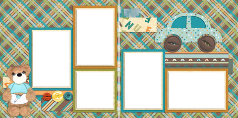 Tear Bear Boy PJs - Digital Scrapbook Pages - INSTANT DOWNLOAD - EZscrapbooks Scrapbook Layouts Baby - Toddler
