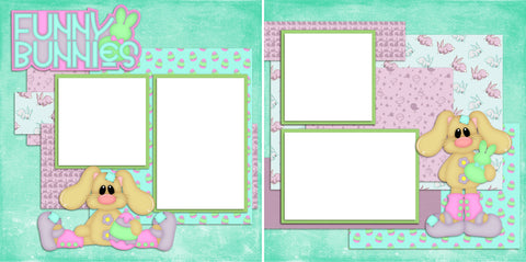 Funny Bunnies - Digital Scrapbook Pages - INSTANT DOWNLOAD