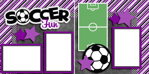 Soccer Fun Purple - Digital Scrapbook Pages - INSTANT DOWNLOAD