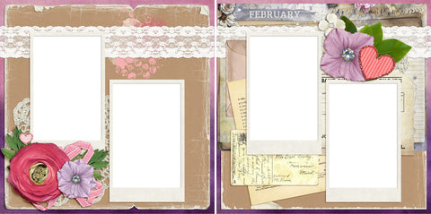 February - Digital Scrapbook Pages - INSTANT DOWNLOAD - EZscrapbooks Scrapbook Layouts Months of the Year