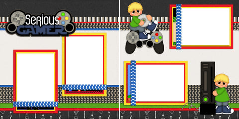 Serious Gamer Boy - Digital Scrapbook Pages - INSTANT DOWNLOAD
