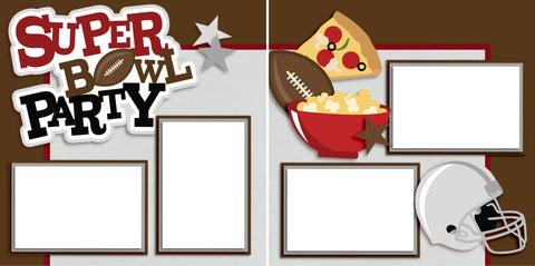 Superbowl Party - Digital Scrapbook Pages - INSTANT DOWNLOAD - EZscrapbooks Scrapbook Layouts Sports