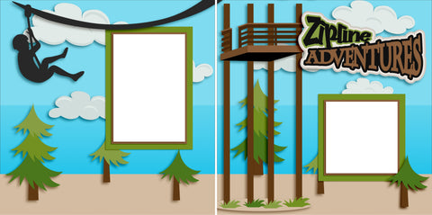 Ziplining - Digital Scrapbook Pages - INSTANT DOWNLOAD