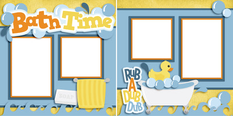 Bath Time - Digital Scrapbook Pages - INSTANT DOWNLOAD - EZscrapbooks Scrapbook Layouts Baby - Toddler