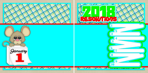 2018 Resolutions NPM - 2720 - EZscrapbooks Scrapbook Layouts New Year's