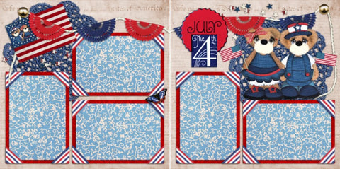4th of July Bears - 881 - EZscrapbooks Scrapbook Layouts July 4th - Patriotic