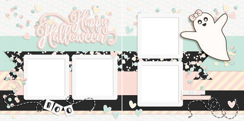 Happy Halloween Ghost - Digital Scrapbook Pages - INSTANT DOWNLOAD