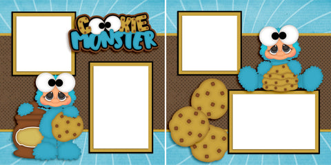 Cookie Monster - Digital Scrapbook Pages - INSTANT DOWNLOAD