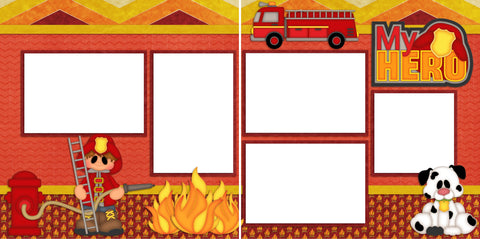 Fireman - Digital Scrapbook Pages - INSTANT DOWNLOAD