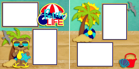 Beach Life - Digital Scrapbook Pages - INSTANT DOWNLOAD - EZscrapbooks Scrapbook Layouts beach, summer, vacation