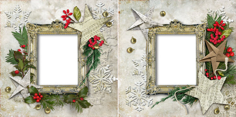 Stars & Snowflakes - Digital Scrapbook Pages - INSTANT DOWNLOAD - EZscrapbooks Scrapbook Layouts christmas, holiday, winter