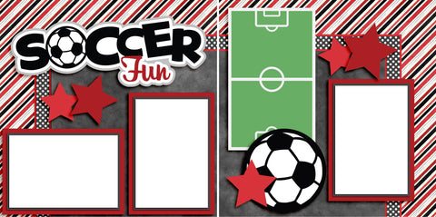 Soccer Fun Red - Digital Scrapbook Pages - INSTANT DOWNLOAD