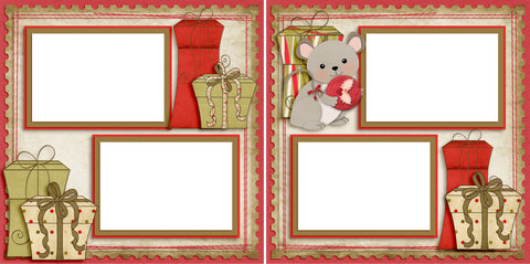 Christmas Mouse - Digital Scrapbook Pages - INSTANT DOWNLOAD