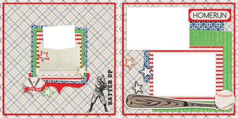 Home Run - Digital Scrapbook Pages - INSTANT DOWNLOAD - EZscrapbooks Scrapbook Layouts baseball, Sports