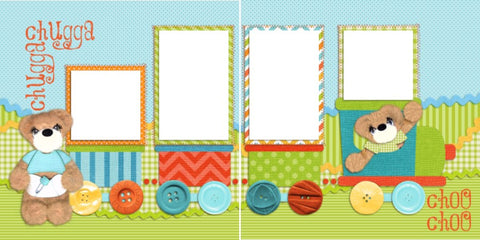 Chugga Chugga - Digital Scrapbook Pages - INSTANT DOWNLOAD - EZscrapbooks Scrapbook Layouts Baby - Toddler, Tear Bears