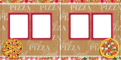 Takeout Pizza - Digital Scrapbook Pages - INSTANT DOWNLOAD - EZscrapbooks Scrapbook Layouts pizza, takeout