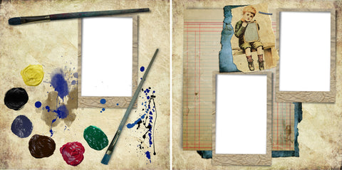 Vintage Artist - Digital Scrapbook Pages - INSTANT DOWNLOAD