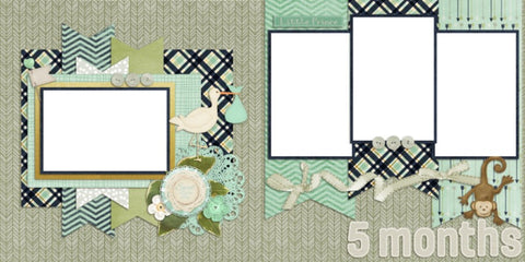 Baby Boy 5 Months - Digital Scrapbook Pages - INSTANT DOWNLOAD - EZscrapbooks Scrapbook Layouts Baby - Toddler