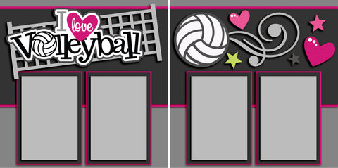 I Love Volleyball - 2554 - EZscrapbooks Scrapbook Layouts soccer, Sports