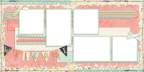 Baby Girl Welcome - Digital Scrapbook Pages - INSTANT DOWNLOAD